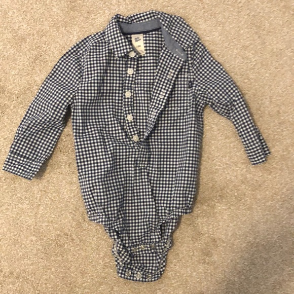 Baby B'gosh navy gingham onesie 18M